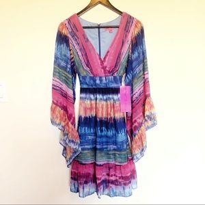 NWT Betsy Johnson Tie Dye V Neck Bell Sleeve Dress